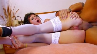 Skinny brunette loves to take cock in the ass